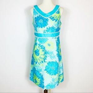 Lilly Pulitzer Blue Floral Print Sleeveless Dress